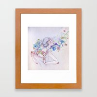 The Lady And The Flowers… Framed Art Print