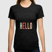 Hello Womens Fitted Tee Tri-Black SMALL