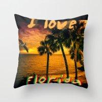Christmas in Florida Throw Pillow