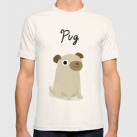 Pug - Cute Dog Series Mens Fitted Tee Natural SMALL