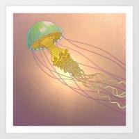 Jellyfish-red Art Print