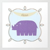 Fun At The Zoo: Rhino Art Print