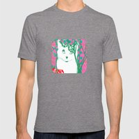 flower and cat Mens Fitted Tee Tri-Grey SMALL