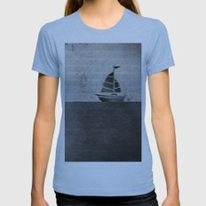 Ship puzzle bw Womens Fitted Tee Athletic Blue SMALL