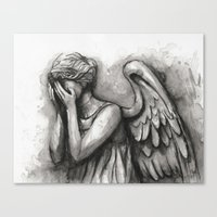 Weeping Angel Watercolor Doctor Who Art Canvas Print
