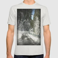 Winding road down Mt.Baw Baw Mens Fitted Tee Silver SMALL