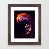 Space Surfing Framed Art Print
