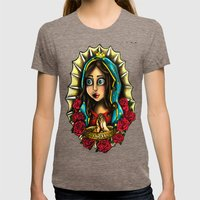 Lady Of Guadalupe (Virgen de Guadalupe) BLUE VERSION Womens Fitted Tee Tri-Coffee SMALL