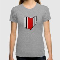 OSU Helmet Stripe Womens Fitted Tee Tri-Grey SMALL