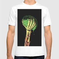 Zombie Skeleton Brain Vintage Mens Fitted Tee White SMALL
