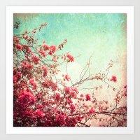 Pink Flowers On A Textur… Art Print