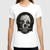 skull T-shirts featuring Room Skull B&W by Ali GULEC