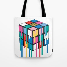 Drippy Feelings Rainbow Rubiks Cube Tote Bag