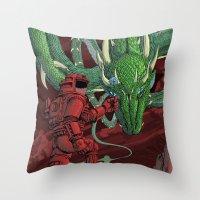 The Dragon on Mars Throw Pillow