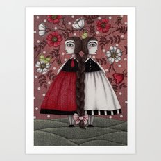 Snow-White and Rose-Red (1) Art Print