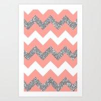 coral glitter chevron Art Print
