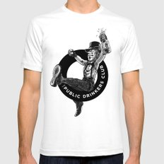 The Public Drinkers Club Mens Fitted Tee White SMALL