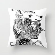 Inking Deer Throw Pillow