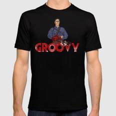 Groovy Black SMALL Mens Fitted Tee