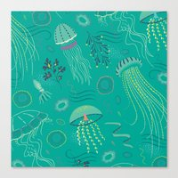 Into the Deep Jellies - Teal Canvas Print