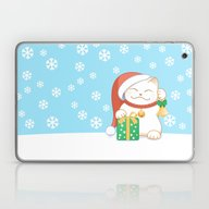 White Christmas Cat Laptop & iPad Skin