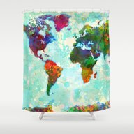 Abstract Map Of The Worl… Shower Curtain