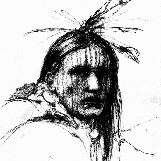 White Belly - Native American Indian Art Print