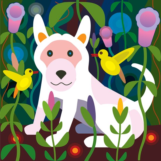 White Dog in Garden Art Print