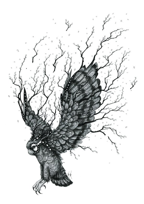 Forest Owl B+W Art Print