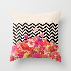 Chevron Flora II Throw Pillow