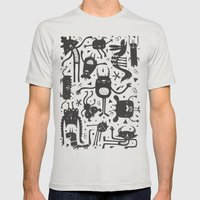 Topsy Turvy - Dark Mens Fitted Tee Silver SMALL