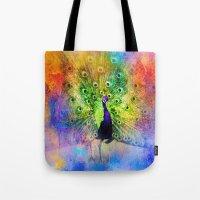 Jazzy Peacock Colorful Bird Art by Jai Johnson Tote Bag