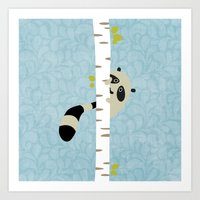 A Shy Raccoon Art Print
