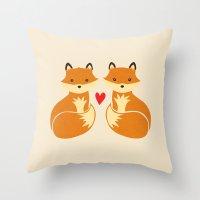 Love Foxes Throw Pillow