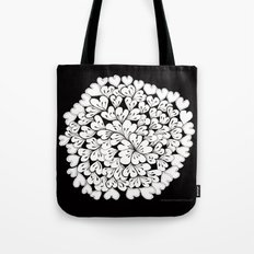Hearts and Flowers Zentangle black and white illustration Tote Bag