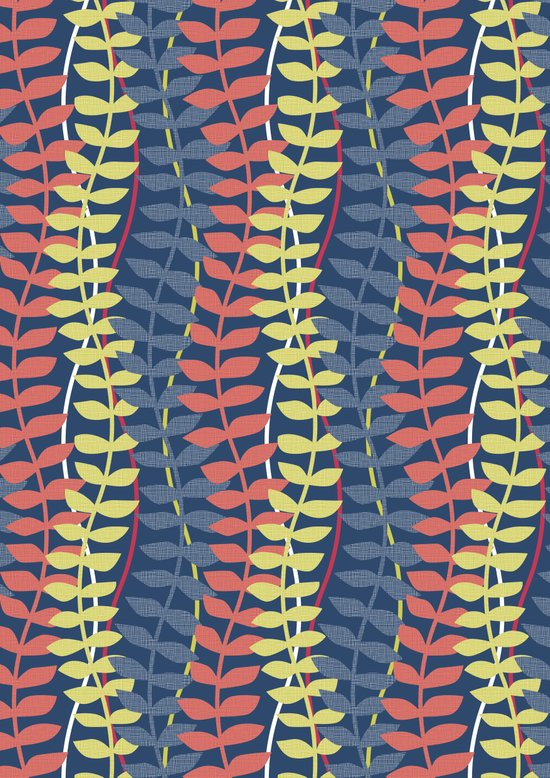 seagrass pattern - blue red yellow Art Print