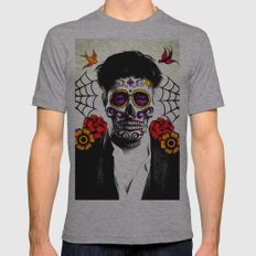 Musician Sugar Skull Painting Mens Fitted Tee Athletic Grey SMALL