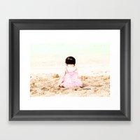 Baby At Beach Framed Art Print