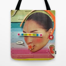What are the birdies saying? | Collage Tote Bag