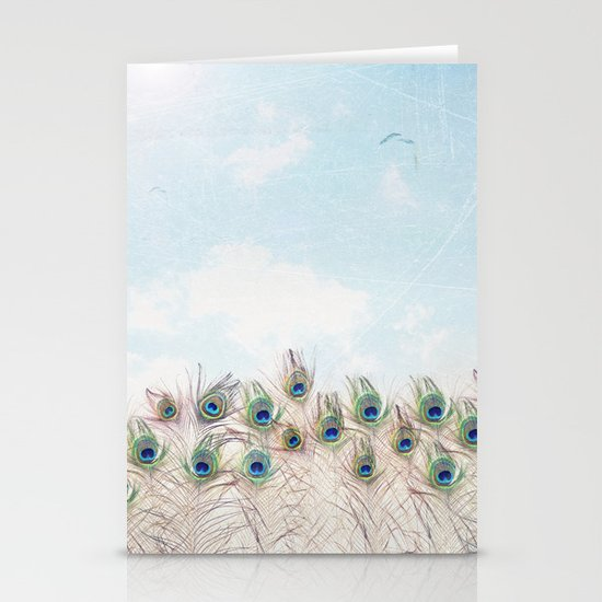Fly Over A Peacock Field Stationery Card