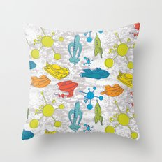 Atoms and Spaceships Throw Pillow