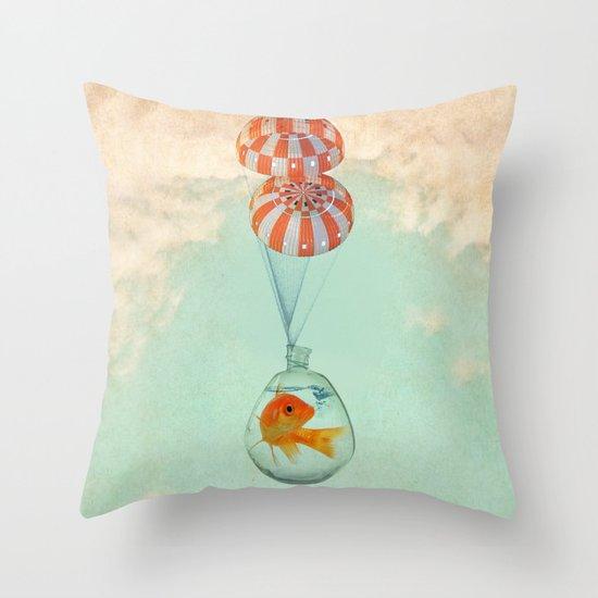 parachute goldfish Throw Pillow