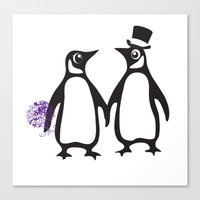 Wedding Penguins Canvas Print