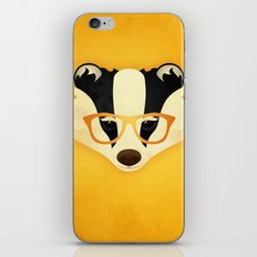 Hipster Badger: Gold iPhone & iPod Skin