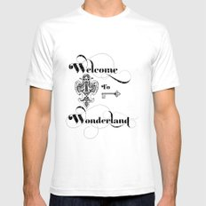 Alice In Wonderland Welcome To Wonderland SMALL Mens Fitted Tee White