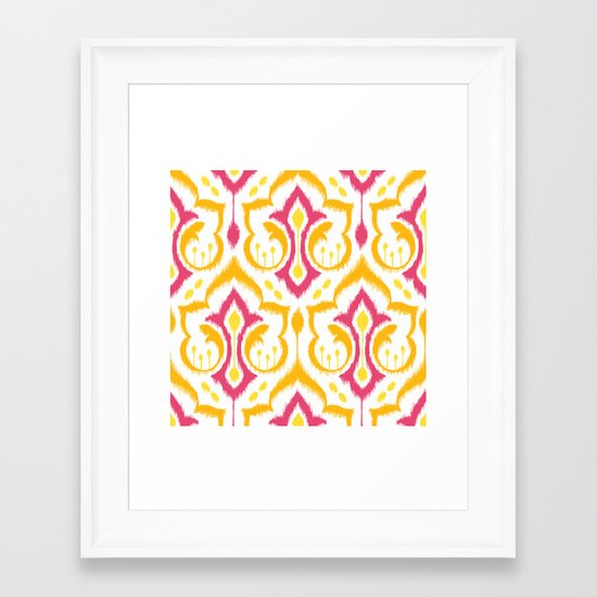 Ikat Damask - Berry Brights Framed Art Print