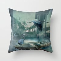 Morning in the Urban Marsh Throw Pillow