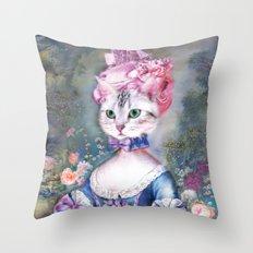 Marie Antoinette Kitty Throw Pillow