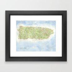 Puerto Rico watercolor map Framed Art Print