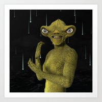 Green Alien Art Print